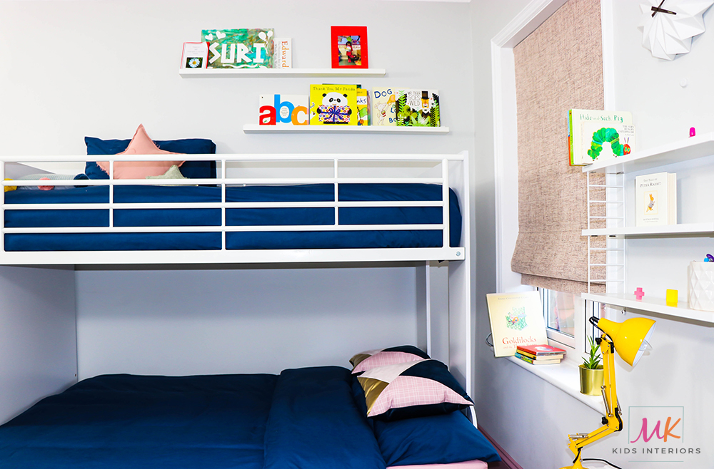 grey and pink kids bedroom -Bunk Bed with step drawers_MK Kids Interiors