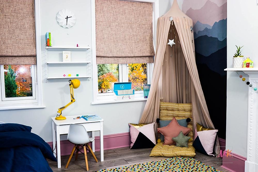 grey and pink kids bedroom -Reading nook_MK Kids Interiors