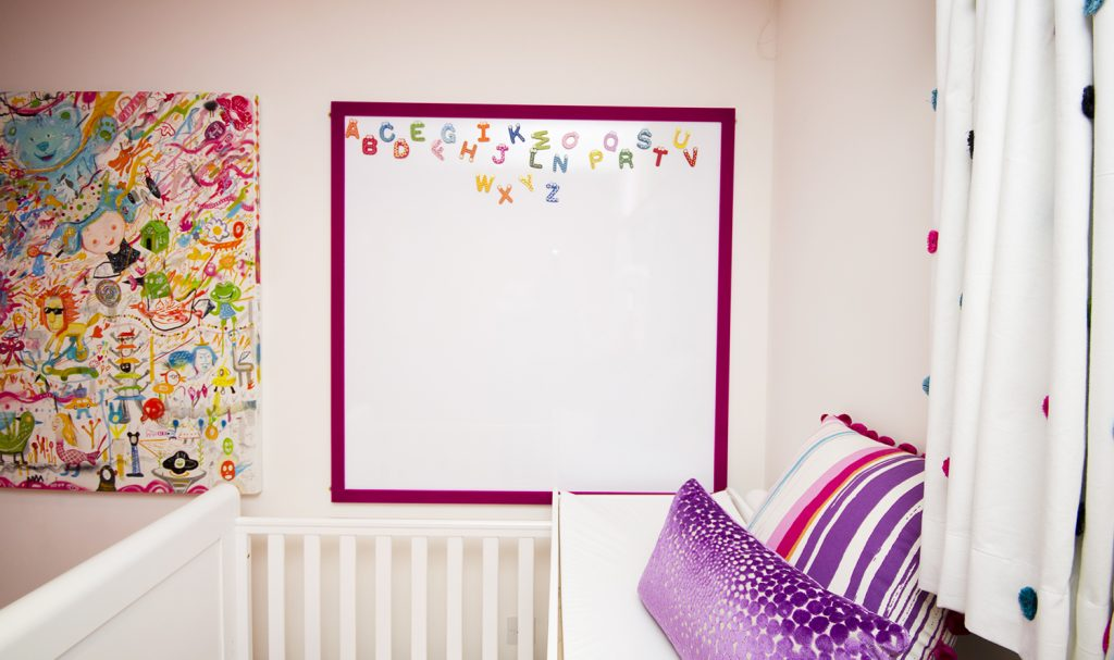 Magnetic white board with a pink velvet border