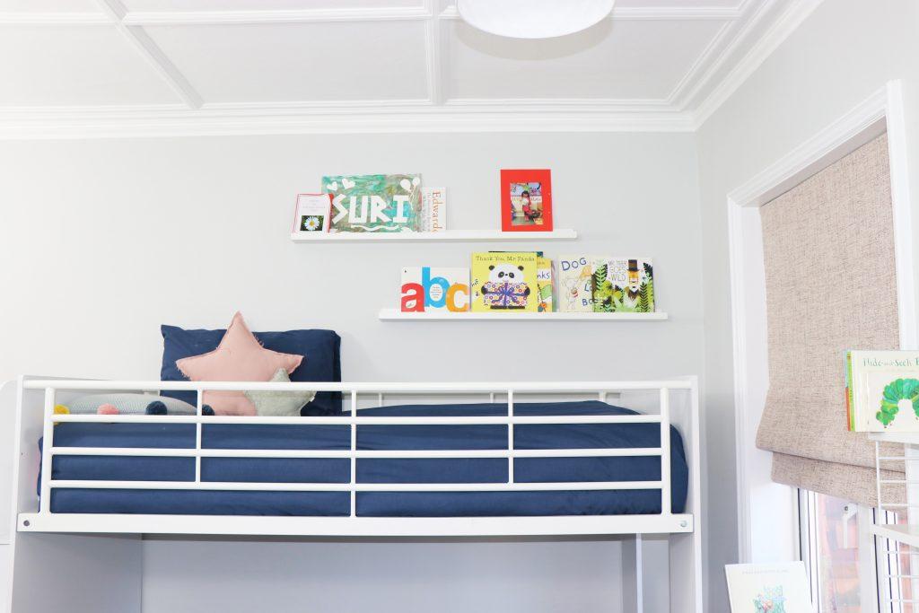grey and pink kids bedroom -Bunk Bed_MK Kids Interiors