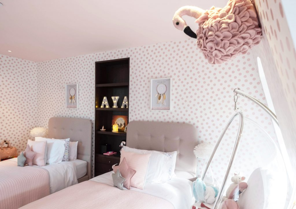 girls bedroom_pink and white bedroom_childrens Interiors london