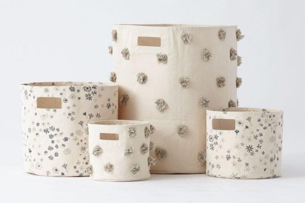 Pehr Design- Group of Grey Pom Pom Storage Hampers- MK Kids Interiors