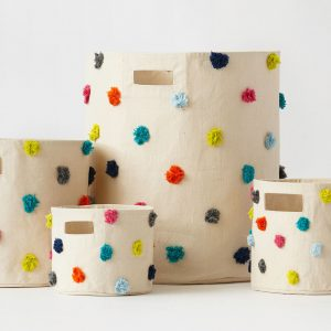 Pehr Design Multi coloured Pom Pom Storage Bins-group-MK Kids Interiors