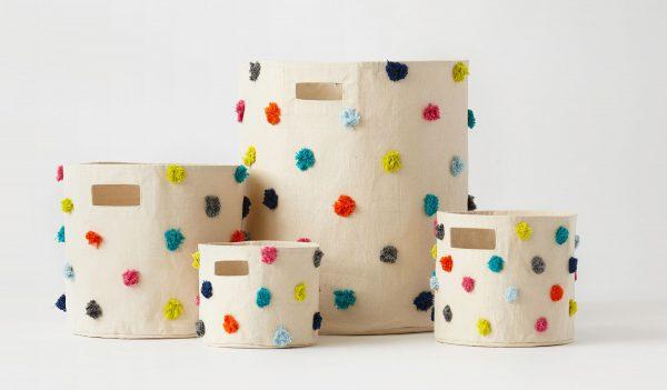 Pehr Design Multi coloured Pom Pom Storage Bins-group-MK Kids Interiors