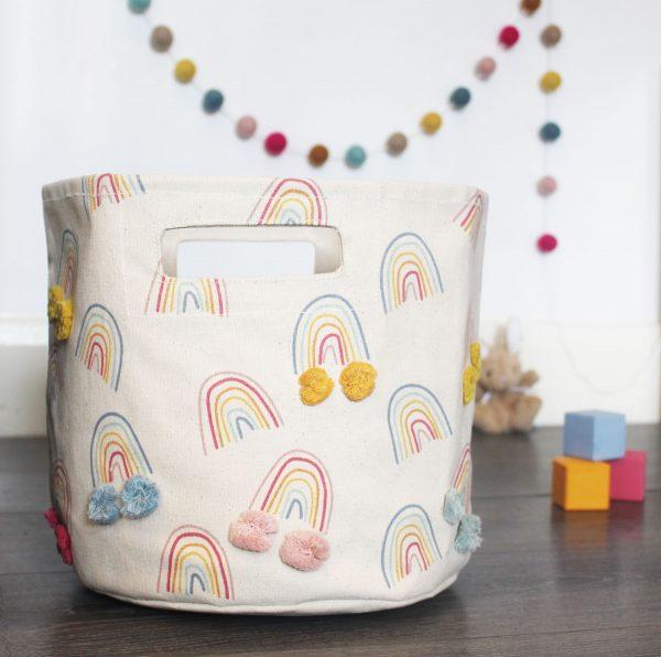 Happy Days Rainbow basket by Pehr Designs-MK Kids Interiors happy days pompom garland in duckegg blue_mustard_blue_light pink_hot pink