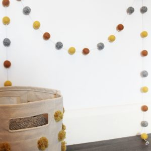 Burnt Orange Mustard and Grey Pom-pom Garland