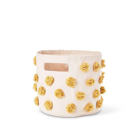 Marigold pompom mini storage bin