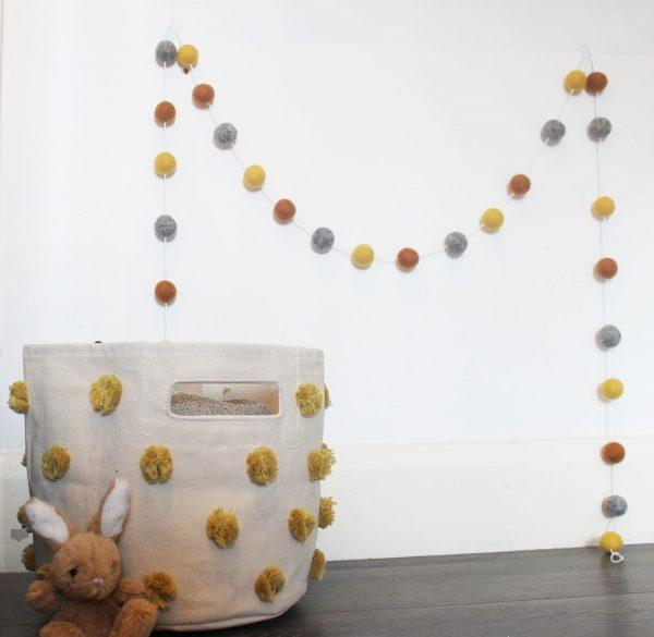 Burnt Orange Mustard and Grey Pom-pom Garland with a marigold pom-pom basket