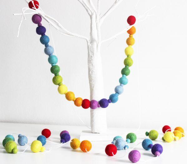 Rainbow felt ball garland_rainbow pompom garland_rainbow nursery decor_cake smash decor_rainbow decor_rainbow nursery_rainbow decor