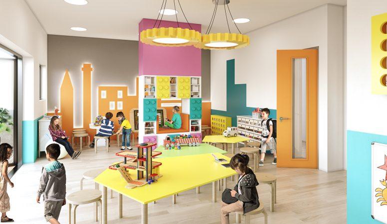 Lego storage unit and orange city scape