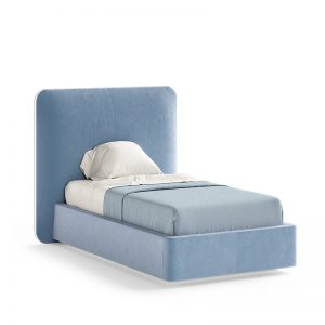 blue upholstered bed