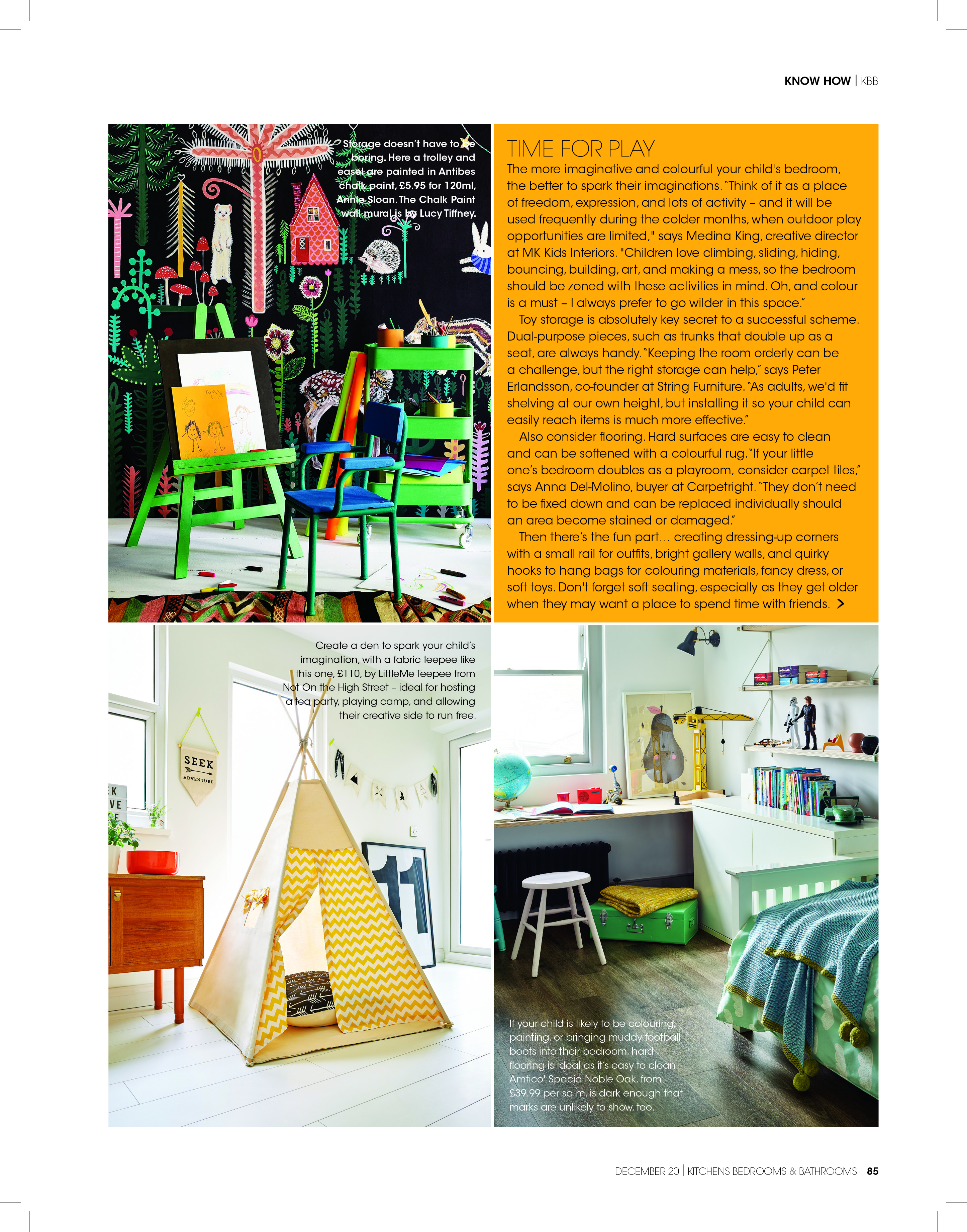 Magazine page divided into 4 sections with images of a teepees, a blackboard and a bedroom
