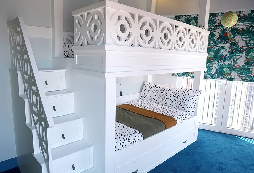 Bunk bed with trundle and step drawers by MK Kids Interiors